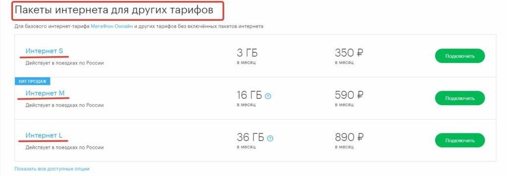 Интернет-пакеты от Мегафон